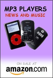 M P 3 players - news and music - on sale at Amazon dot com; click to go to Amazon in new window