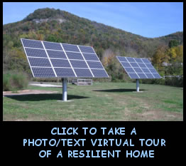 picture of solar panels; click to take virtual tour of resilient home