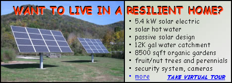image of solar panels against backdrop of mountain - WANT TO LIVE IN A RESILIENT HOME? 5.4 kW solar electric; solar hot water; passive solar design; 12K gal water catchment; 8500 sqft organic gardens; fruit/nut trees and perennials; security system, cameras; more ... click to take virtual tour