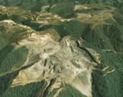 mountaintop removal mining videos link; thumb of scene from Google Earth presentation of mountaintop removal mining site