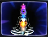 woman meditating with chakra centers illuminated