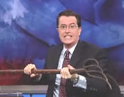 Stephen Colbert with a pitchfork