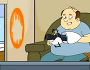 funny video about alternate dimensions link; thumb of guy sitting on couch with a portal ray gun