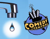 funny water supply video link; thumb of water drop dripping from a tap plus comedy central logo