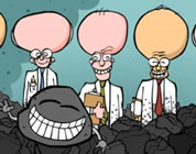 funny clean coal video link; thumb of clean coal mascot with three brainy scientists in background