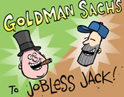 funny goldman sachs video link; thumb of image of executive and bum