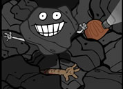 animated chunk of coal with flashlight in cave-in; link for funny eco animation page; opens in new window