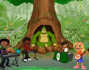 cartoon image of friendly gorilla in hollow tree; kids in foreground are playing like a band; click to go to animation page at external site; opens in new window