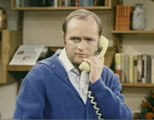 Bob Newhart on phone; click to go to video page at external site; opens in new window