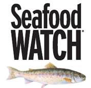 picture of fish, words Seafood Watch; link for fish guide page; opens in new window