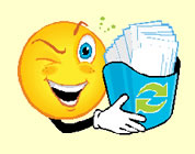 recycling - funny audio link; thumb of cartoony bubble man holding bin of recycled paper