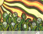 funny Monsanto video link; thumb of impressionistic painting of corn stalks growing with skulls at the top