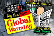 funny global warming skeptic video link; thumb of cartoon character reading newspaper on city street corner