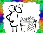 funny bottled water video link; thumb of stick figure drinking from a plastic water bottle standing by a trash can overflowing with discarded water bottles