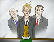 funny banker video link; thumb of three down-and-out bankers looking longingly at champagne bottle