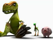 graphic of big dinosaur, little dinosaur, and pig