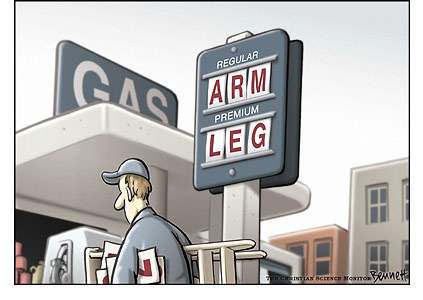 gas prices cartoon. Gas price sign: Regular costs